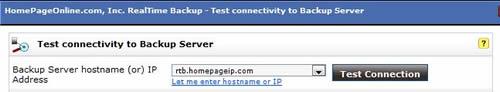 realtimebackup server connectivity test